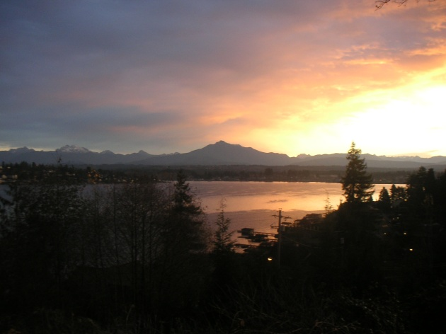 Sunrise over Lake Stevens and Mt. Pilchuck